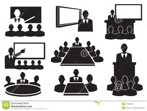 Set Aa Black White business meeting icon set stock vector illustration of