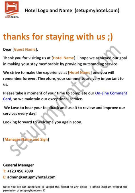 Thank You Letter Hotel To Guest 17 best images about sle hotel guest formats on