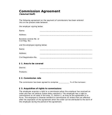 sales commission contract template free 21 commission agreement template free sle exle