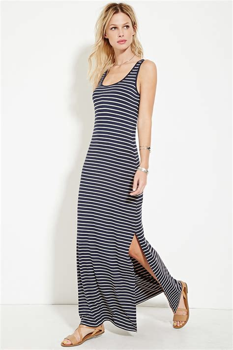 Striped Maxi Dress lyst forever 21 striped high slit maxi dress in blue