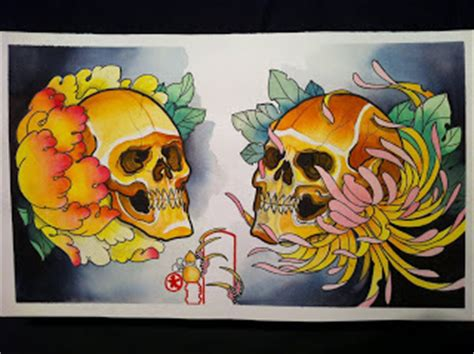 watercolor tattoo stockholm tattooworld h 246 246 r sweden skull flash painting by