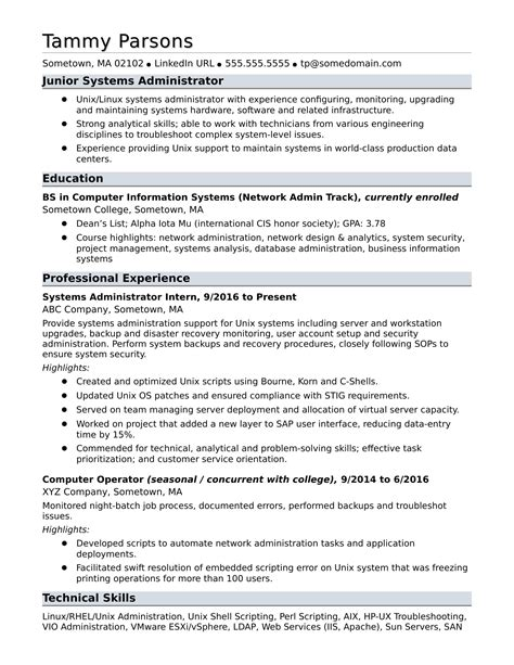 19 system admin resume sample melvillehighschool
