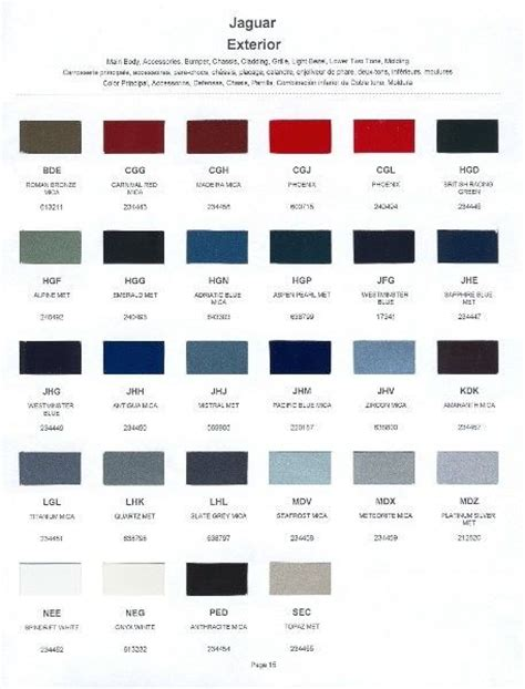 2001 Jaguar Paint Color Sle Chips Card Oem Colors Ebay