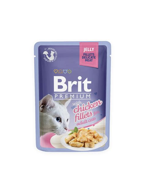 Cats Chicken In Prawn Jelly brit premium cat pouch with chicken fillets in jelly for cats krmivo brit