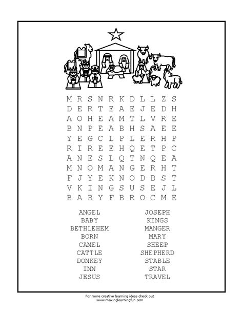 printable nativity puzzle search results for christmas word search printables free