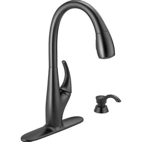 Kitchen Faucet Black Delta Deluca Single Handle Pull Sprayer Kitchen Faucet With Soap Dispenser In Matte Black