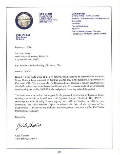 Support Letter For Housing Sle Support Letter From Cecil State Senator Roselawn Senior Housing