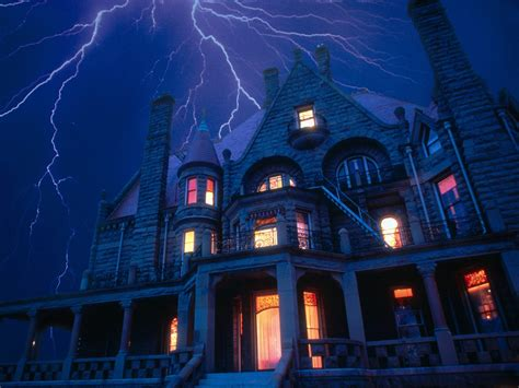 set the scene for a haunted mansion halloween party spooky house with lightening scary wallpaper