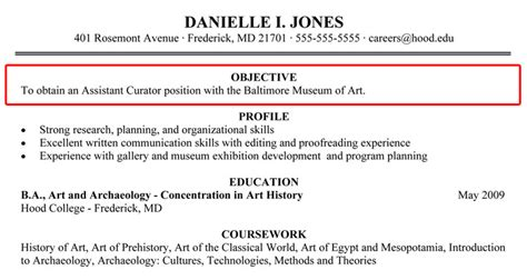 objective section of resume writing your resume hood college