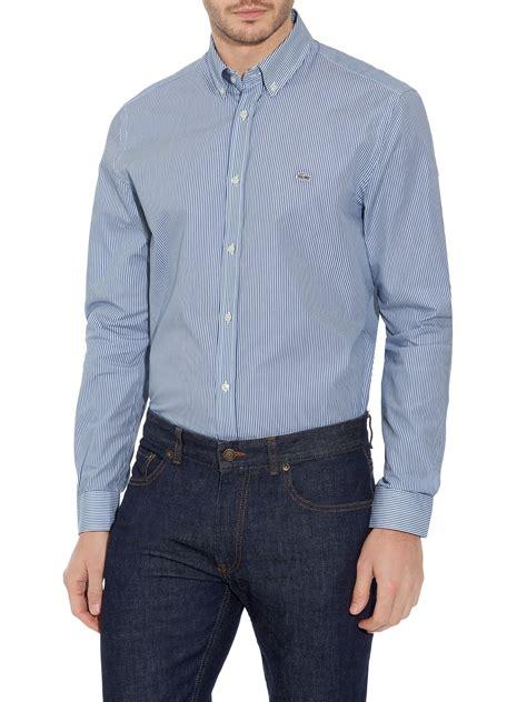 Cp3 Mexx Light Blue Classic Button Sleeve Shir lacoste stripe classic fit sleeve button shirt in blue for light blue lyst