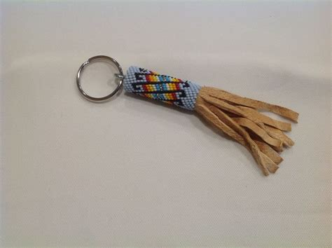 american beaded keychain powder blue with smoked
