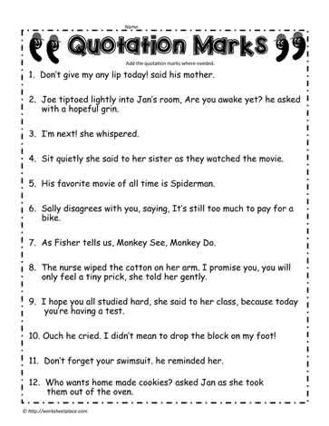 quotation marks worksheet 2 worksheets
