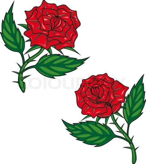 cartoon rose tattoo two roses isolated on white for design