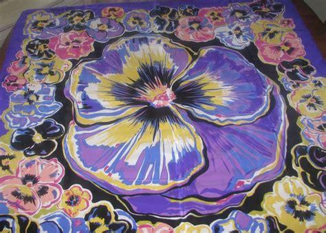 bob mackie wearable silk scarf pansy flower pansies