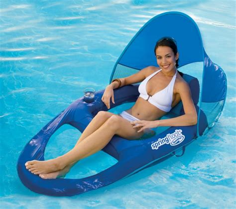 Floating Lounge Chair With Umbrella by Swimways Float Recliner Pool Lounge Chair W Sun