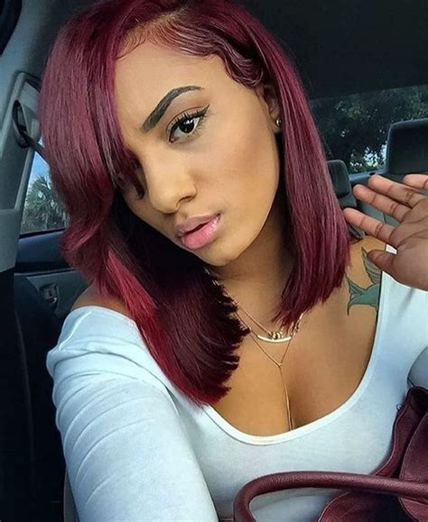burgundy hair on a latina cherry wine deep burgundy red weaves and wigs for black