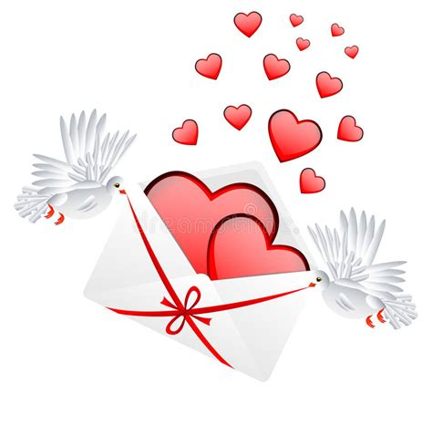 st valentin envelope with hearts to the day of valentin stock
