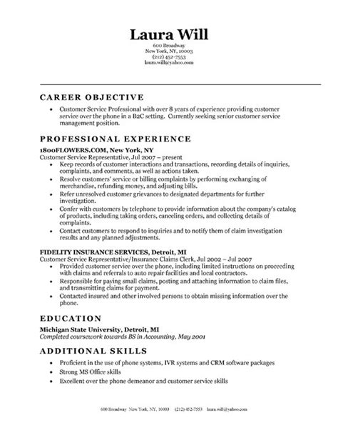 resume sles objectives for customer service objectives for customer service resume resume ideas