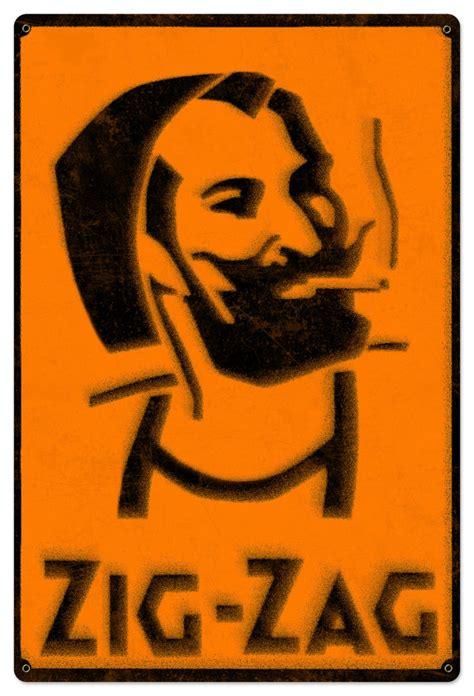 zig zag man zig zag man rolling papers spray art metal sign