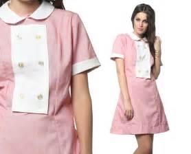 60s waitress dress diner uniform pink white mod mini by shopexile