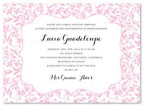 quince invitation wording examples