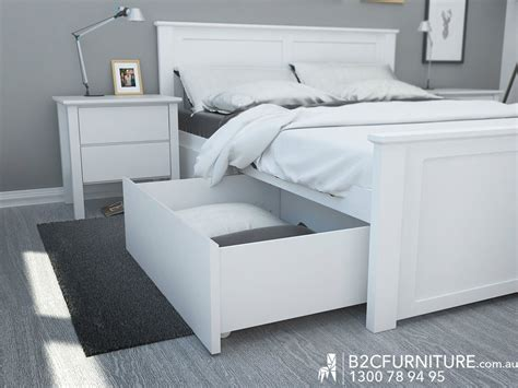 white bed frame with bed storage drawers
