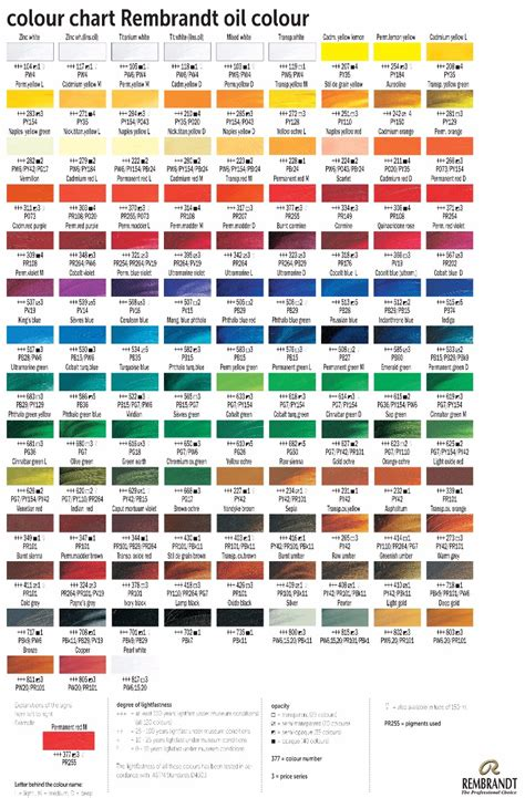royal talens rembrandt artist paint colour chart