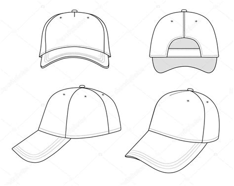 blank hat template outline cap vector illustration stock vector 169 arlatis