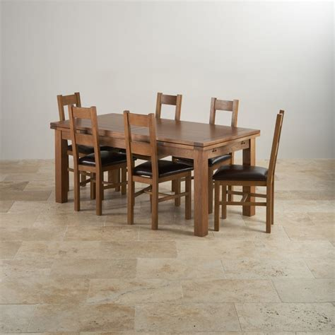Solid Oak Dining Table And 6 Chairs Rustic Oak Dining Set 6ft Table With 6 Chairs