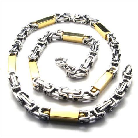 T01 217 Titanium Necklaces 21 7 inch titanium golden cuboid necklace 18837 163 156 titanium jewellery uk