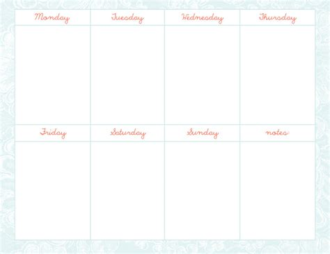 weekly schedule template number 3 jpg psd by