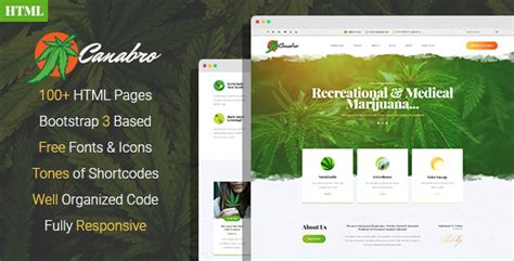 Canabro Medical Marijuana Dispensary Html Template Download Canabro Medical Marijuana Marijuana Website Templates