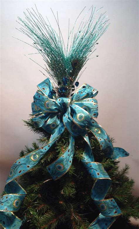 grand peacock tree topper christmas holiday shabby