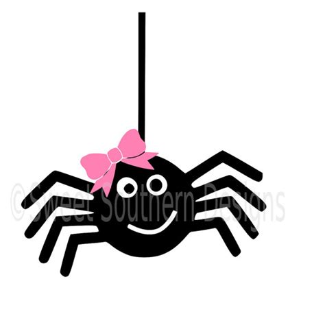 Spider Halloween Craft - cute spider with bow for halloween svg instant download design