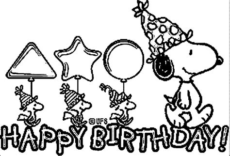 snoopy birthday coloring page snoopy birthday cards coloring page wecoloringpage