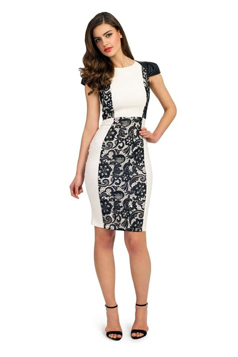 Lace Panel Dress and black pu cap sleeve lace panel dress