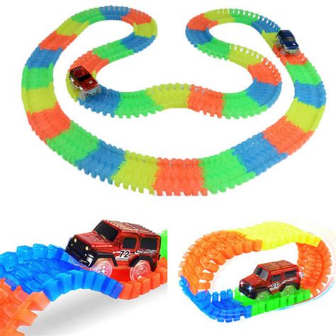 Lynx Magic Tracks Track Mobil Glows In The 165 Pcs Mainan Anak 1 magic tracks bend flex glow in the assembly 165 220pcs race track 1pc led car