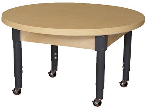 Mobile Round High Pressure Laminate Table With Adjustable 36 Table Legs