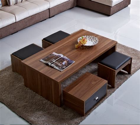 Wooden Square Coffee Table With Four Stools by Coffee Table Amusing Coffee Tables With Stools