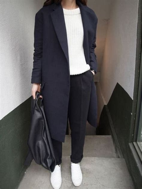 Blazer Korea Younger By Kingzstore picture of black trousers a white chunky knit sweater a