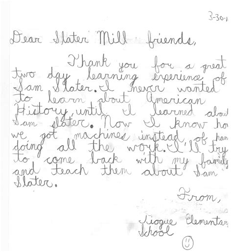 thank you letter after elementary school thank you note from an elementary school student after