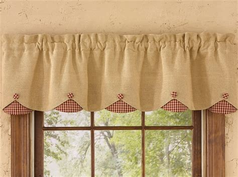 red burlap curtains red burlap check lined scalloped curtain valance 58 quot x 14 quot