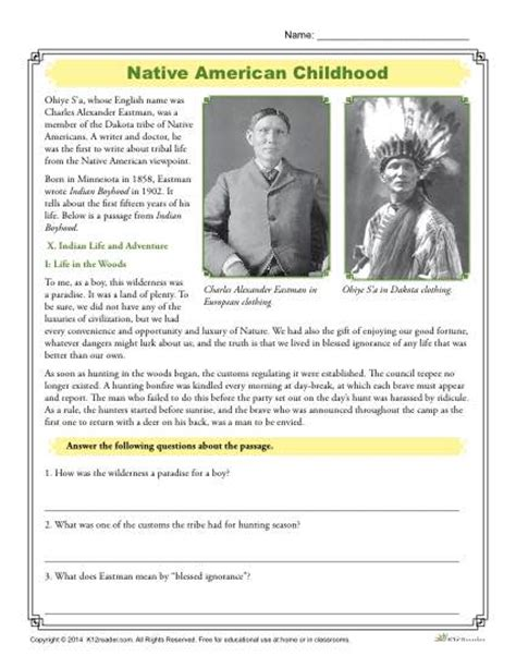 native american childhood comprehension activity