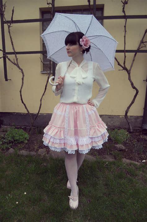 Blouse Dz 406 tereza saki white lace umbrella h m pink closet