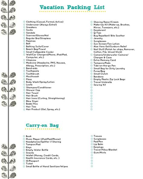printable travel checklist for family vacation packing list a free download for the places we