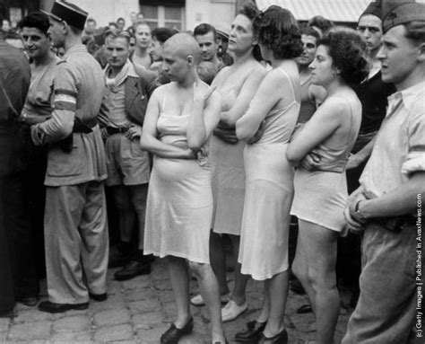 french female nazi collaborators with shaved heads marched collaborators