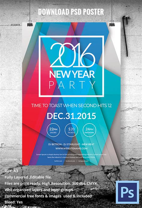 new year 2016 poster template 26 a4 a5 poster mockup templates for designers free