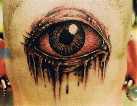 tattoo eyes back of head awesome colored 3d eye tattoo on back head