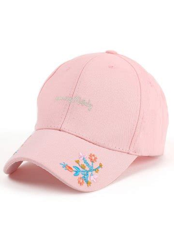 Flower Embroidered Baseball Cap pink letters flowers embroidered baseball cap rosegal