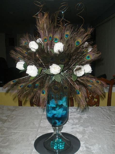 feather centerpieces peacock feather centerpiece raji creations